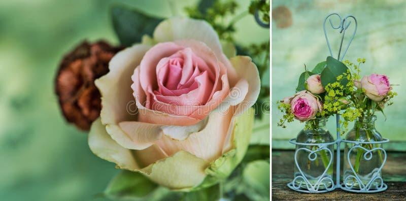 Collage de deux images de bouquet rustique de roses photo stock