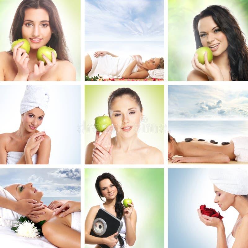 Collage de dieta hermoso con las mujeres jovenes imagen de archivo libre de regalías