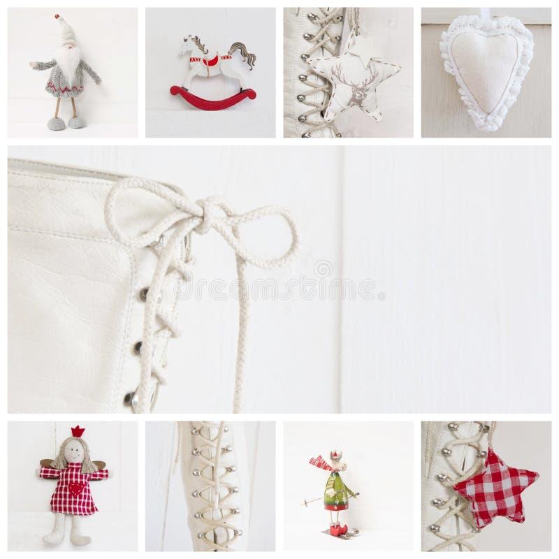 Collage de différentes photos pour Noël - idée pour la décoration photographie stock libre de droits
