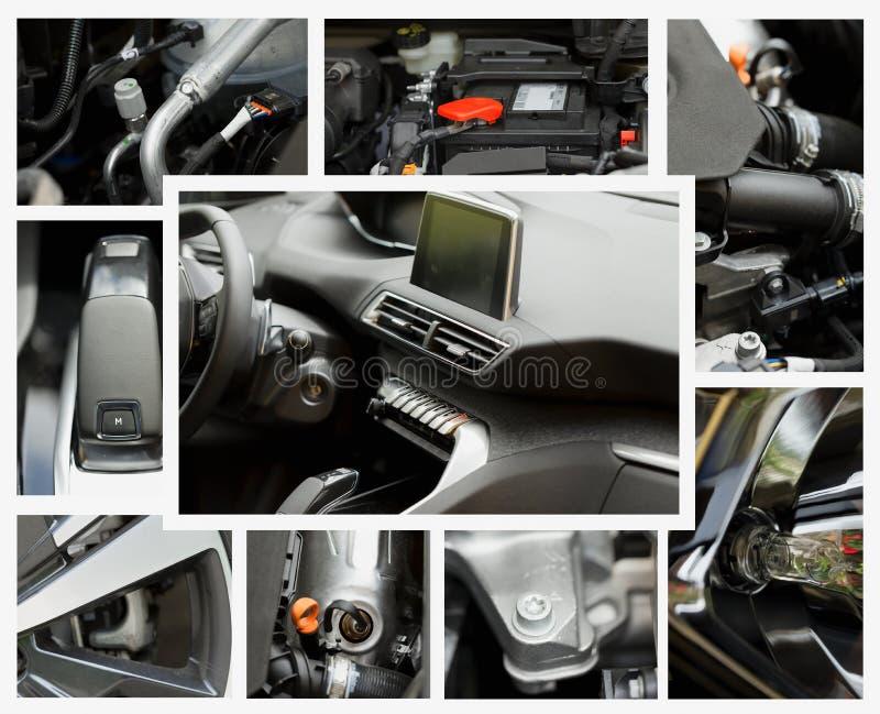 Collage de différentes pièces d'une voiture diesel de turbo photos libres de droits