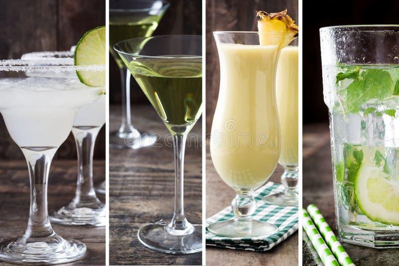 Collage de différents cocktails sur le bois photographie stock
