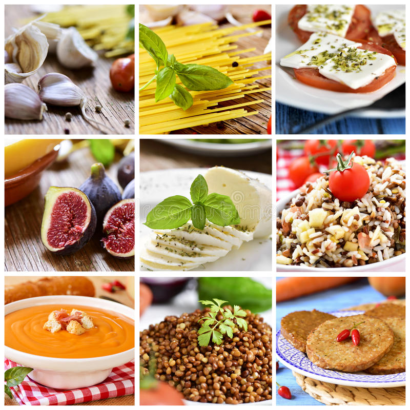 Collage de différents eatings et repas photo stock
