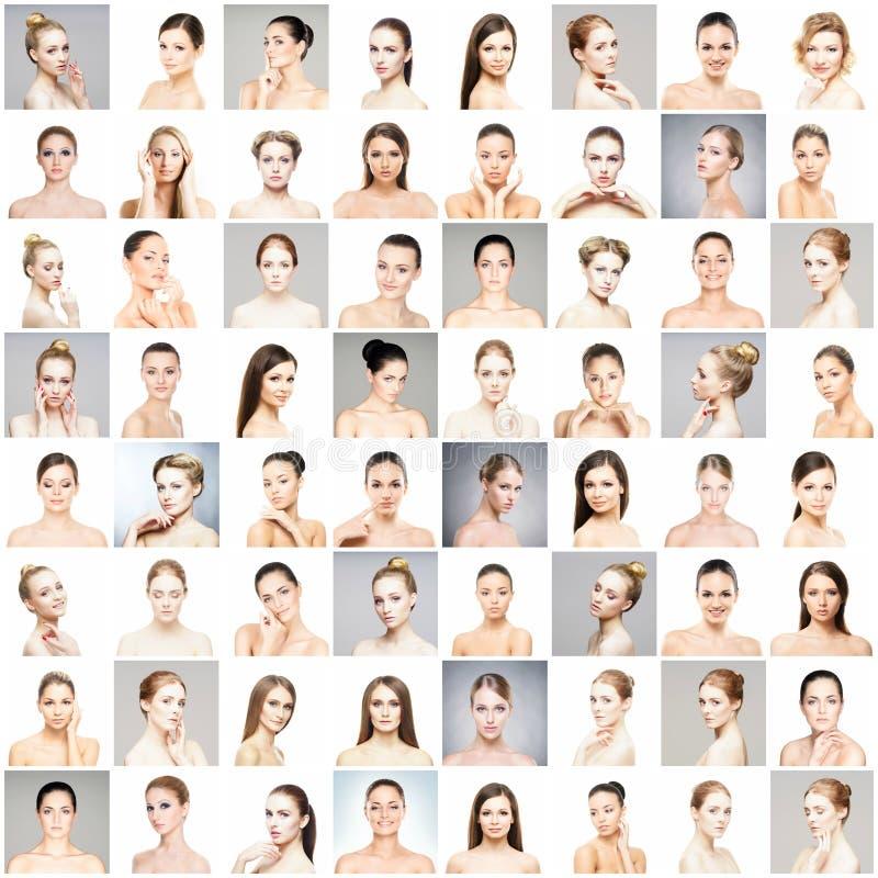 Collage de différents portraits des jeunes femmes dans le maquillage photo stock