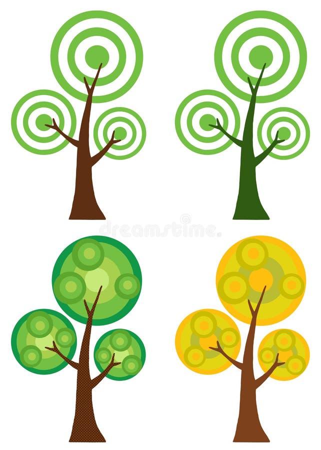 Collage De Digitaces De Los árboles Del Círculo Ilustración del ...