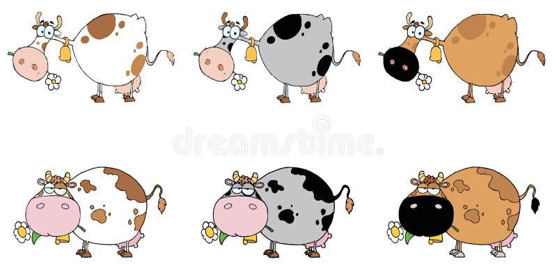 Collage de Digitaces de seis vacas stock de ilustración