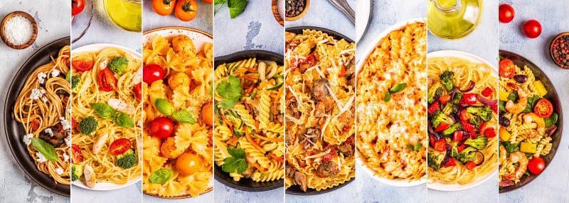 Collage de divers plats de pâtes image libre de droits