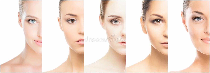 Collage de divers portraits de femelle de station thermale photo libre de droits