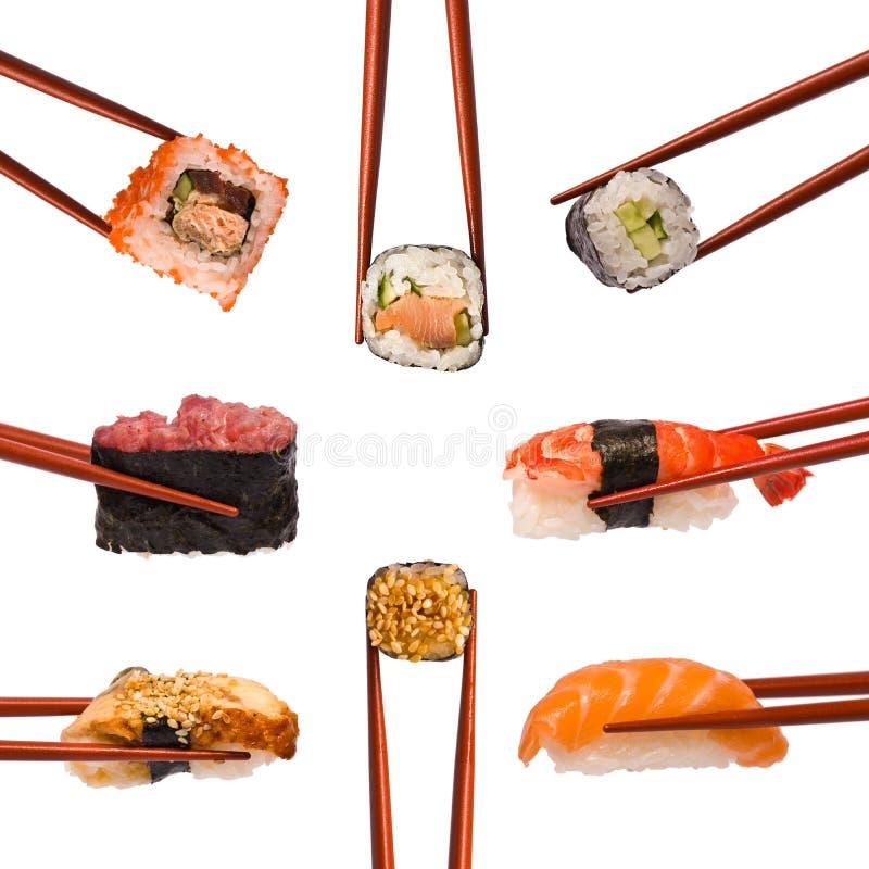 Collage de divers sushi photo stock