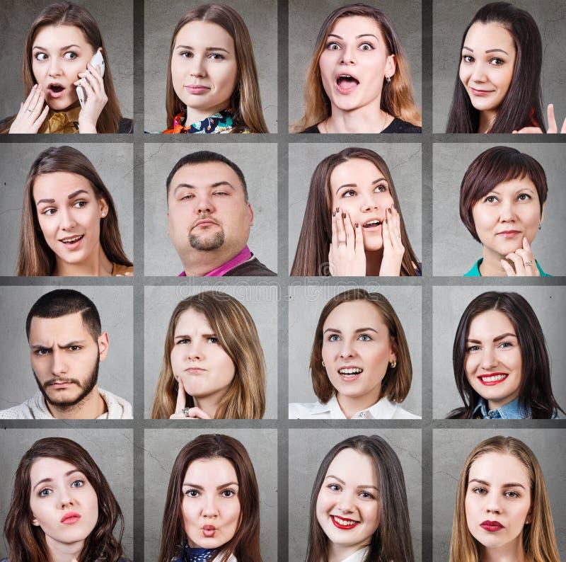Collage de diversas emociones de la mujer fotos de archivo libres de regalías