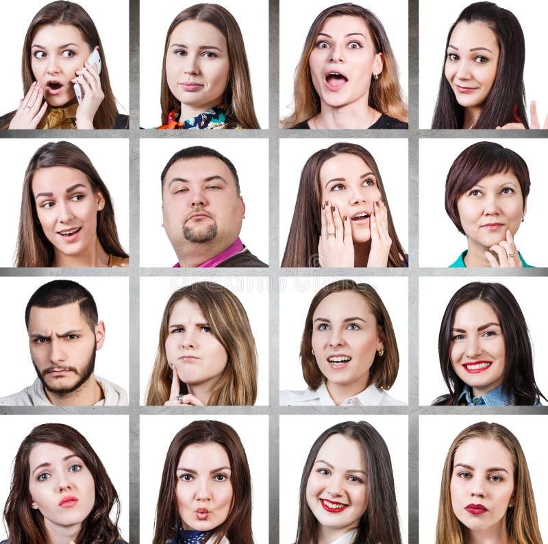 Collage de diversas emociones de la mujer fotografía de archivo