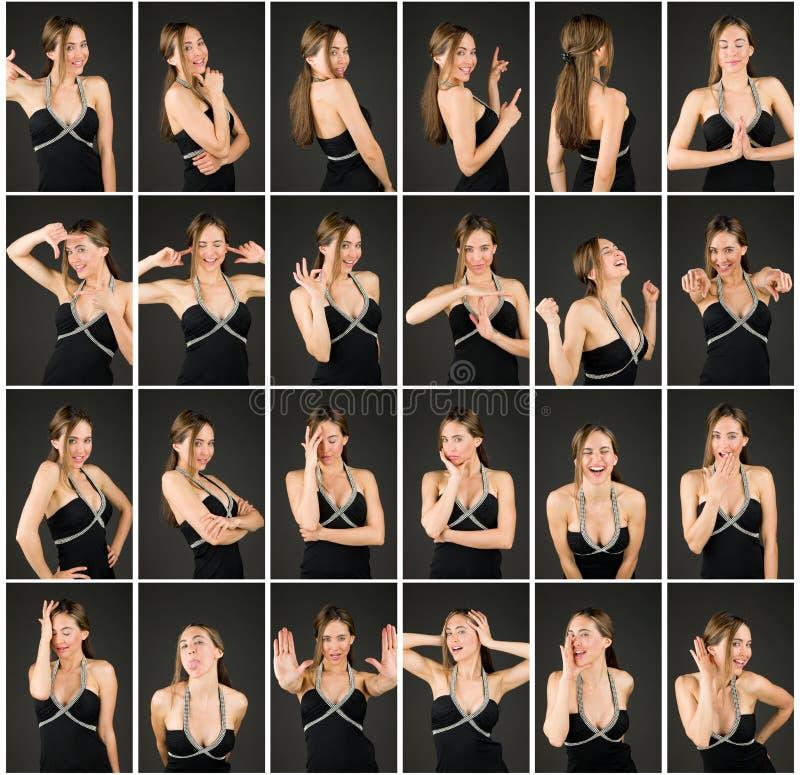Collage de diversas expresiones faciales imagenes de archivo