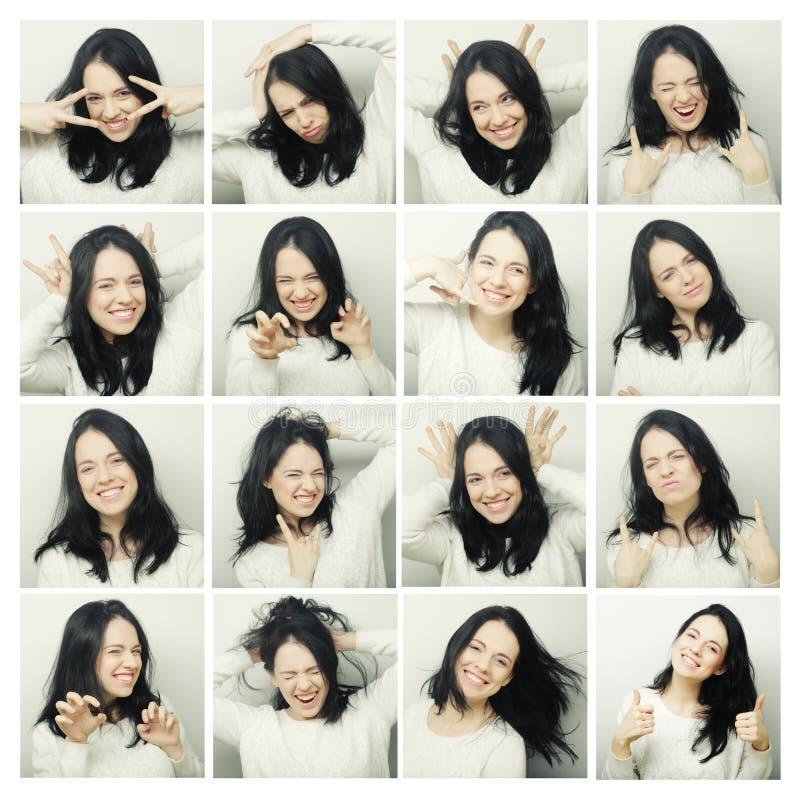 Collage de diversas expresiones faciales de la mujer imágenes de archivo libres de regalías