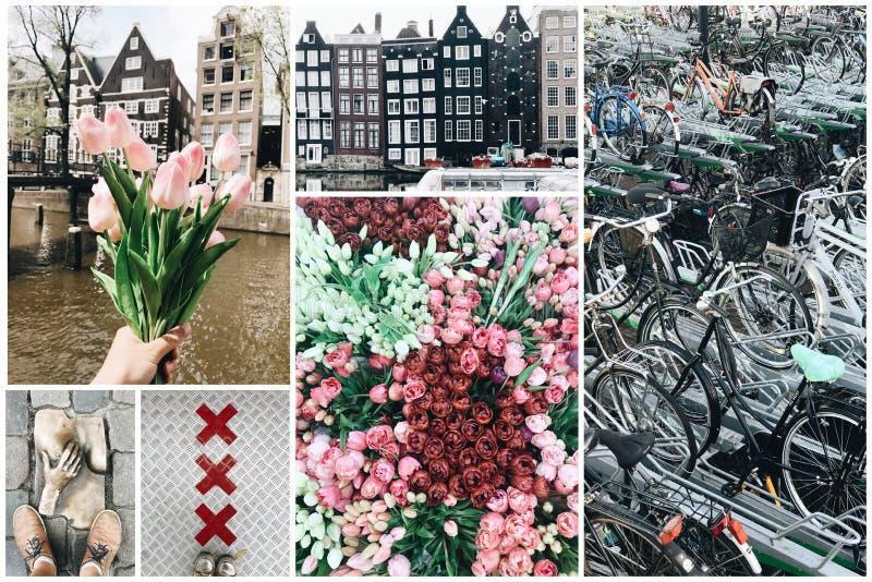 Collage de diversas fotos de Amsterdam fotografía de archivo