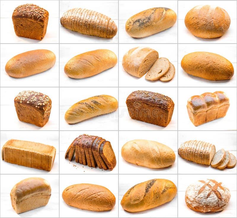 Collage de diversas fotos con panes imagen de archivo