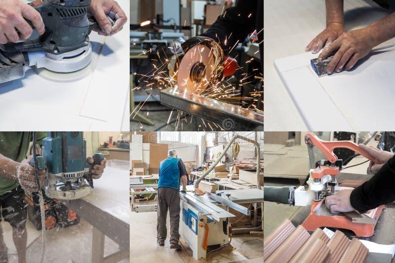Collage de diversas imágenes del ciclo de la producción en la industria de los muebles fotografía de archivo libre de regalías