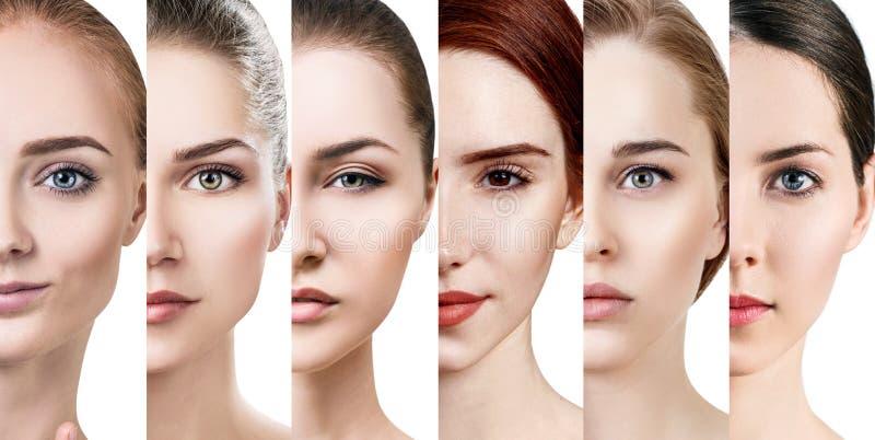 Collage de diversas mujeres hermosas con la piel perfecta fotos de archivo