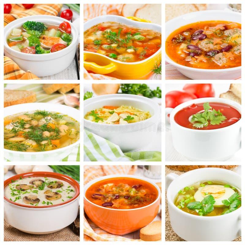 Collage de diversas sopas foto de archivo