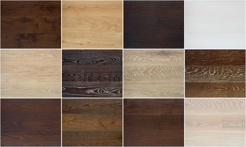 Collage de diversas texturas de madera del piso imagen de archivo libre de regalías