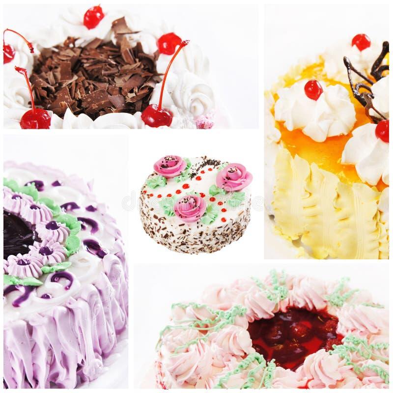 Collage de diversas tortas foto de archivo