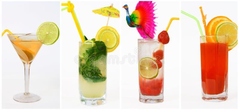 Collage de diverses boissons sur un fond blanc images libres de droits