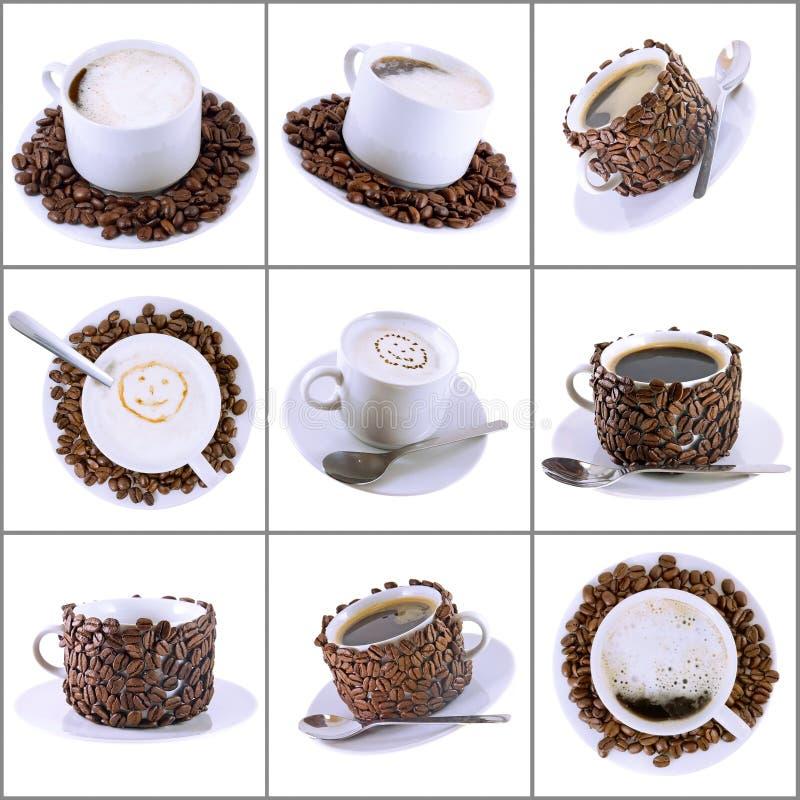 Collage de diverses tasses de café avec du café. images stock