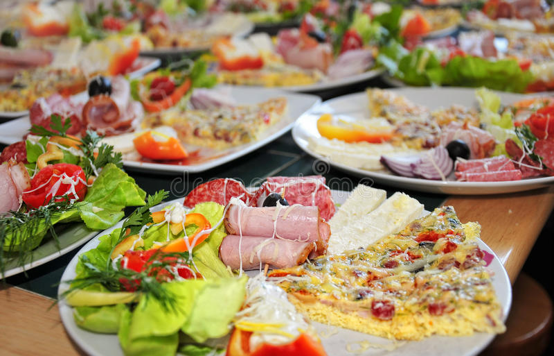 Collage de diversos productos de los alimentos de preparación rápida. Chee del queso Feta fotos de archivo libres de regalías