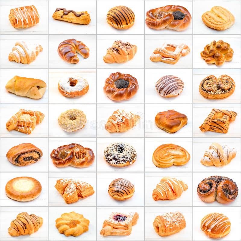 Collage de diversos tortas y dulces imagen de archivo