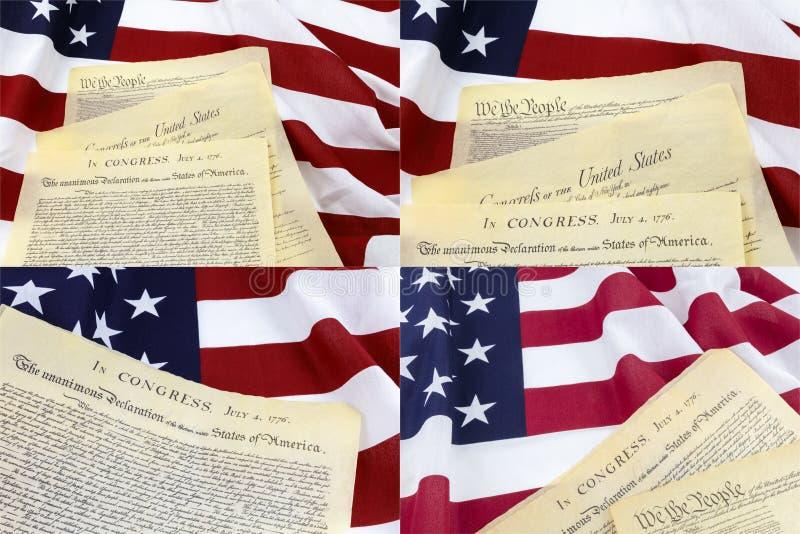 Collage de document de déclaration de drapeau américain photo libre de droits