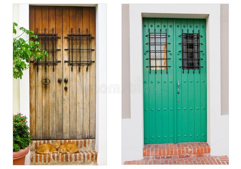Collage de dos puertas en San Juan viejo, Puerto Rico imagenes de archivo