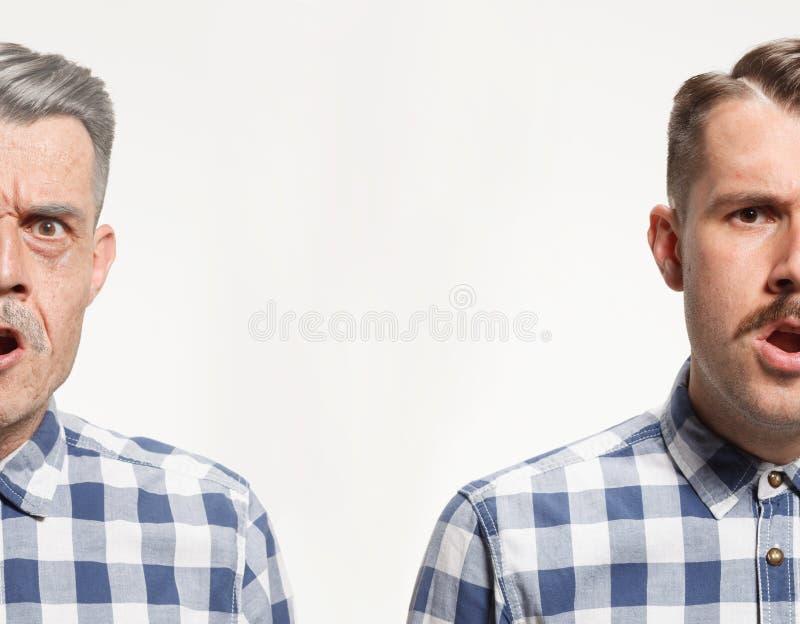 Collage de dos retratos del mismo viejo hombre y de hombre joven Elevación de cara, envejecimiento y concepto del skincare Conpar imágenes de archivo libres de regalías
