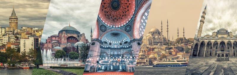Collage de famosos monumentos de Estambul imagenes de archivo