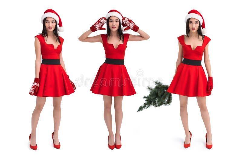collage de femme assez asiatique dans le costume et des mitaines de Santa image libre de droits