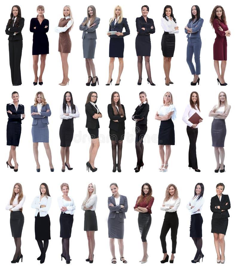 Collage de femme d'affaires moderne r?ussie D'isolement sur le blanc image stock