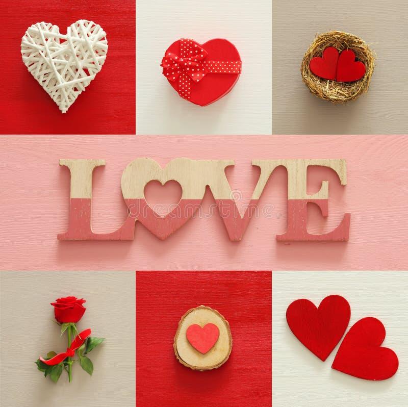 Collage de fond de jour de valentines Coeurs, boîte-cadeau, nid, rose de rouge et lettres d'AMOUR photographie stock