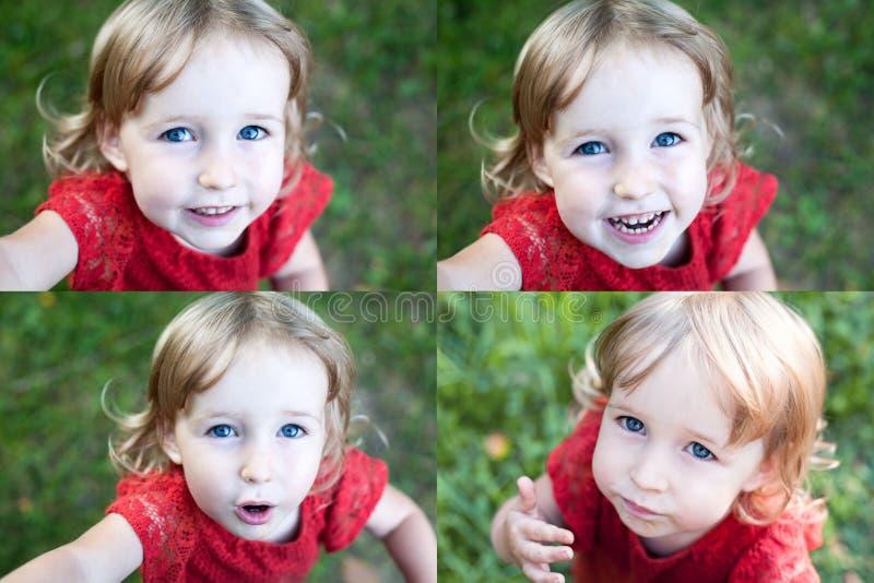 Collage de fotos con el primer emocional de la cara de la muchacha divertida del niño imágenes de archivo libres de regalías