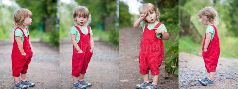 Collage de fotos con la muchacha divertida del niño en los pantalones rojos que se colocan altos en fondo al aire libre del vera imagenes de archivo