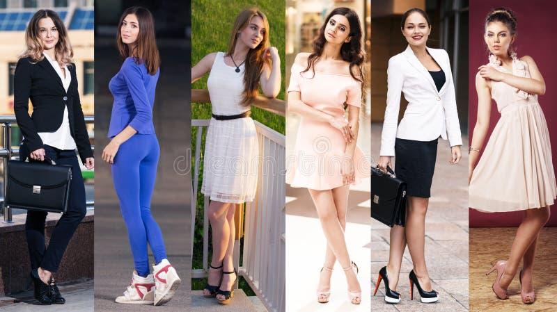 Collage de fotos con las mujeres jovenes hermosas fotos de archivo