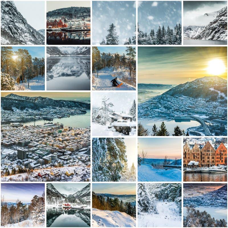 Collage de fotos de Bergen imagenes de archivo