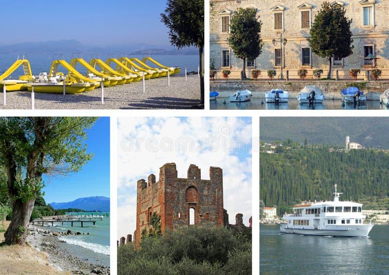 Collage de fotos del lago Garda imagen de archivo libre de regalías