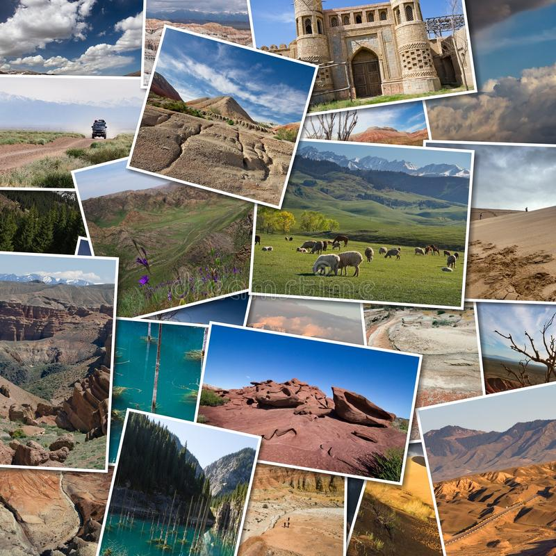 Collage de fotos de paisajes de Kazajistán Montañas, ríos fotos de archivo libres de regalías