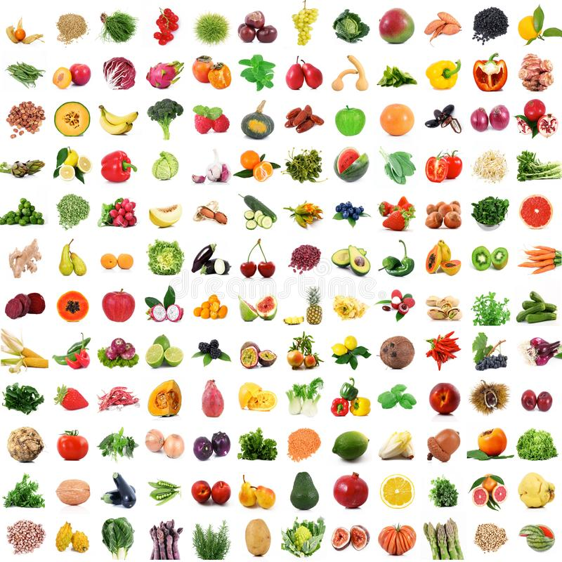 Collage de fruits et légumes sur le fond blanc photographie stock