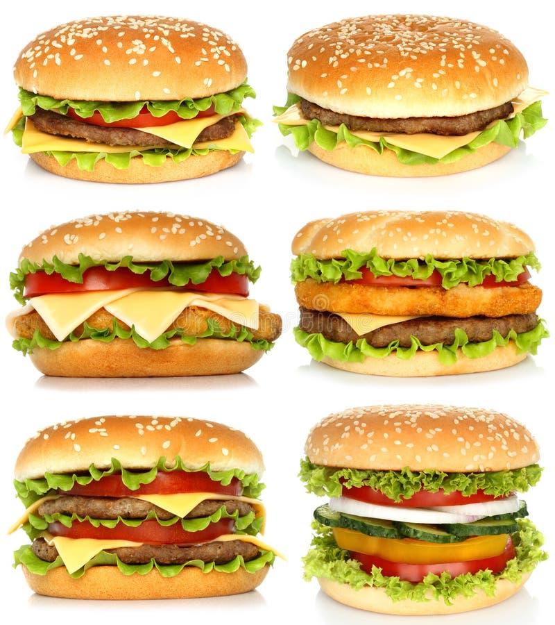 Collage de grands hamburgers image libre de droits