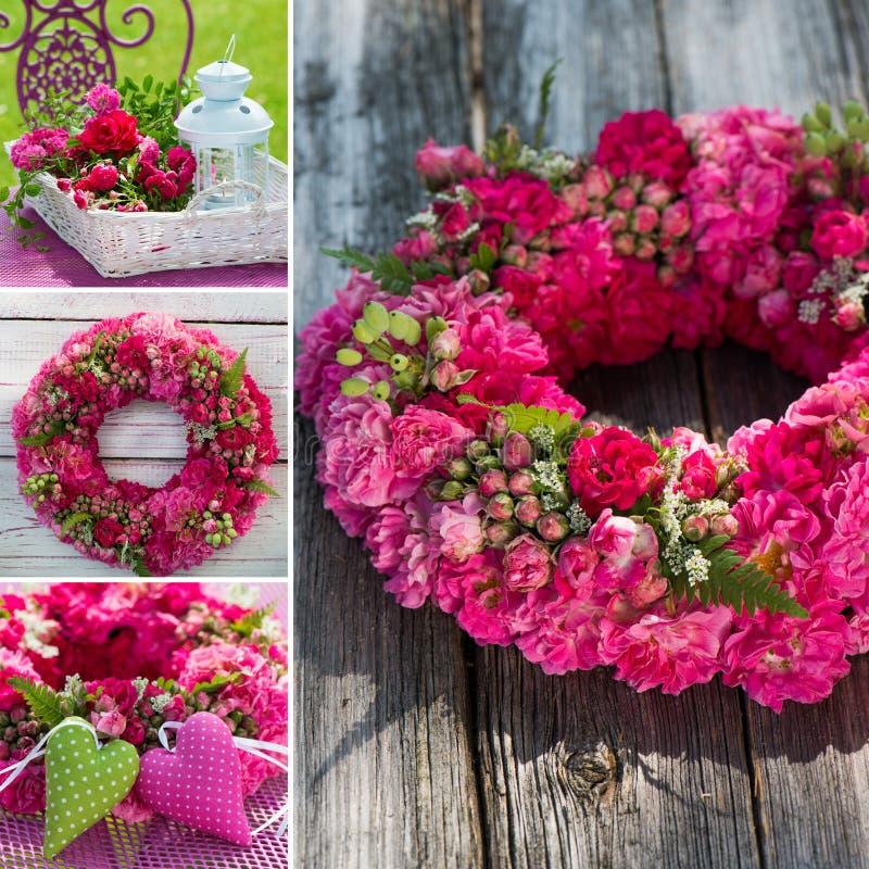 Collage de guirlande de roses images libres de droits