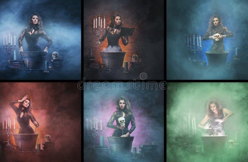 Collage de Halloween de brujas jovenes en una mazmorra del smokey imagen de archivo libre de regalías