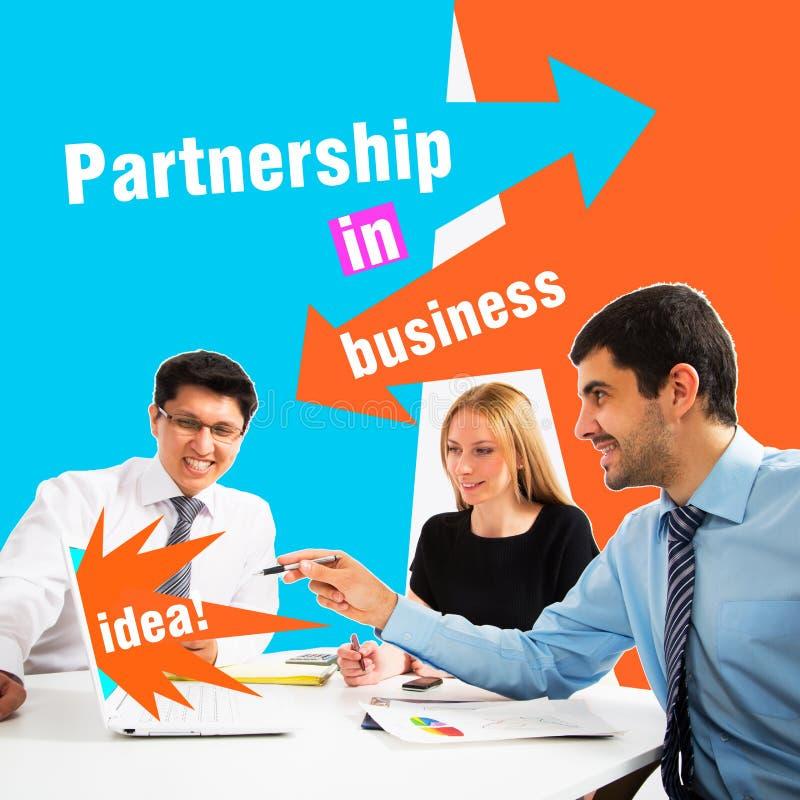 Collage de hombres de negocios en la reunión imagen de archivo