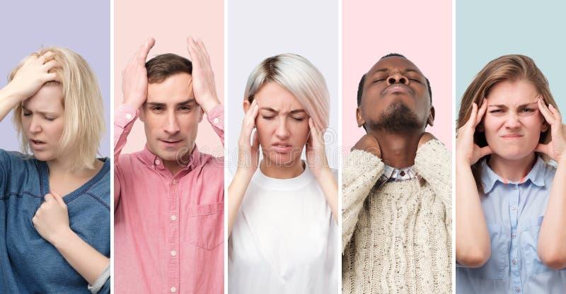 Collage de hombres jovenes y de mujeres que sufren de dolor de cabeza severo foto de archivo libre de regalías