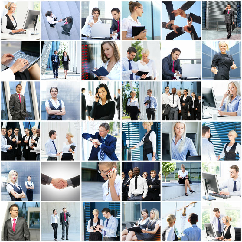 Collage de hombres de negocios jovenes imagenes de archivo