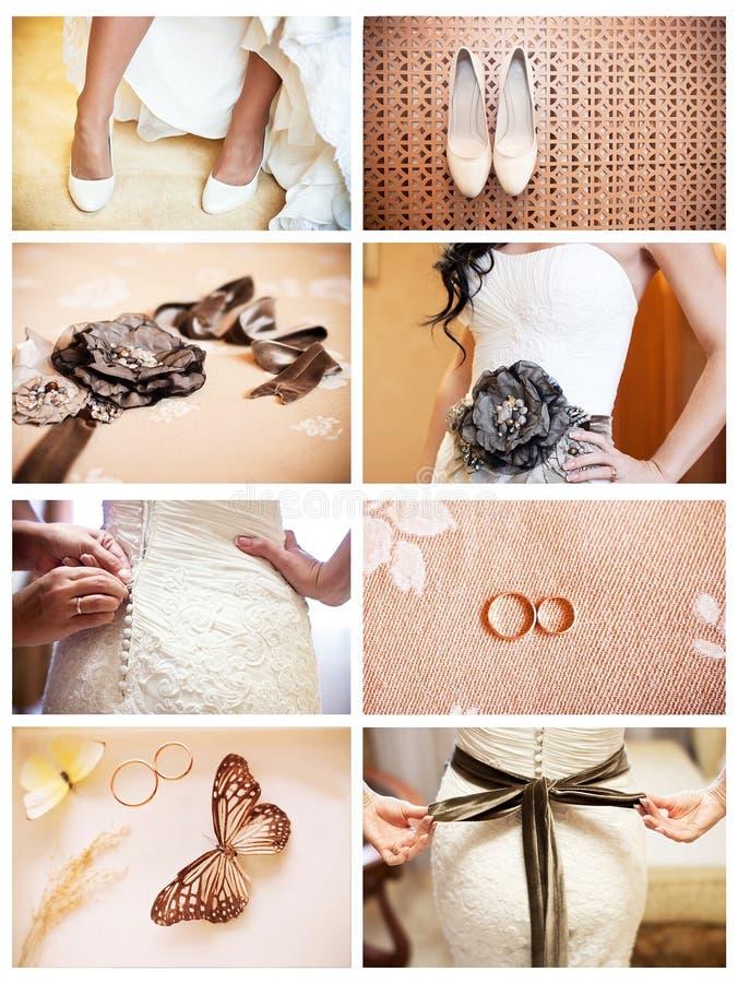 Collage de huit photos wedding images libres de droits