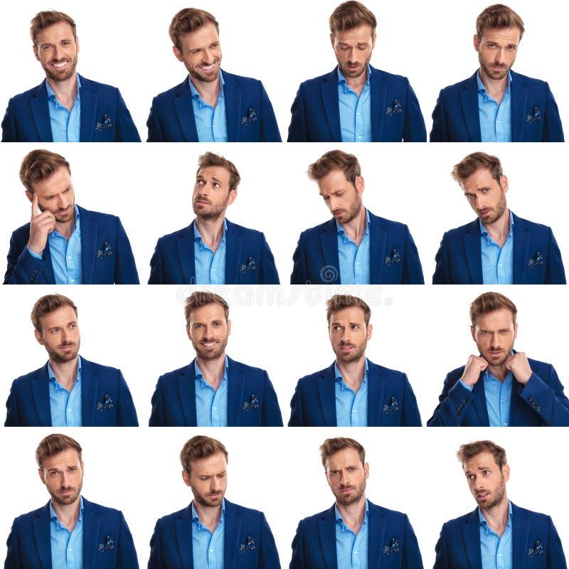 Collage de 16 images de jeune homme occasionnel futé frais photographie stock libre de droits