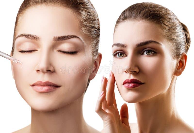 Collage de jeune femme appliquant l'huile d'amorce sur le visage images stock
